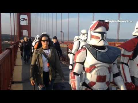 Kevin Doyle and #StarWars supporters walk across #GoldenGateBridge in memory of Eileen Doyle.
