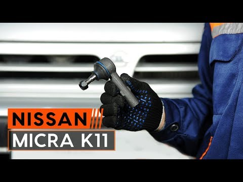 How to replace front track rod end onNISSAN MICRA 2 [TUTORIAL AUTODOC]