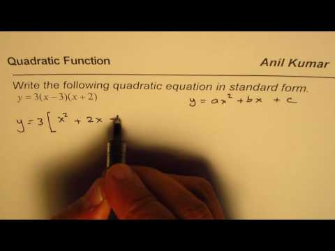 Convert Quadratic Equation From Intercept to Standard form