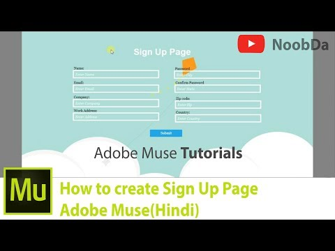 3. Adobe Muse - Creating Sign Up Page | Hindi |