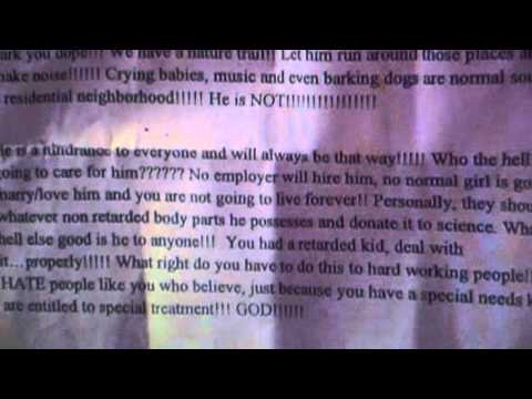 Parents of Autistic Boy gets a letter by One