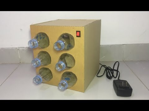 How to make Eco cooler from cardboard and plastic bottle , mini air cooler