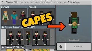 MCPE Optifine Capes  Png release at 200 subs,Skin pack
