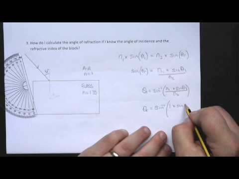 How to calculate the angle of refraction of a ray inside a glass block