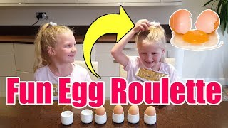 Egged On Egg Roulette Challenge video for Kids   Hannah and Jessica