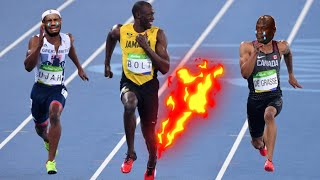 Usain Bolt joke with Andre De Grasse before crossing the finish line in 200m -Rio 2016