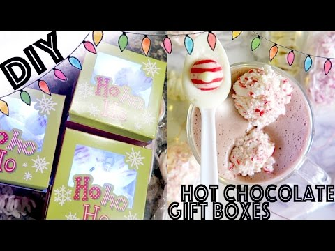 DIY: White Hot Chocolate Gift Boxes (Peppermint Marshmallows & Chocolate Pretzels/Spoons