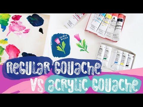 Acrylic Gouache vs Regular Gouache  (on a Sta-Wet Palette)