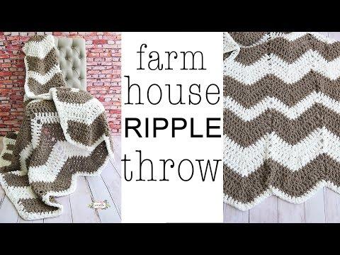 Crochet CHEVRON Farmhouse Ripple Throw Blanket Left Handed
