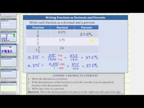 Convert a Fractions to Decimals and Decimals to Percents (3/8, 7/4, 2 3/5)