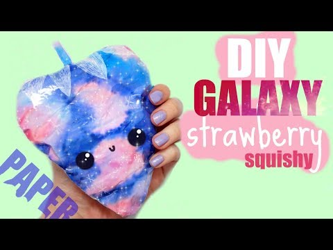 PAPER SQUISHY TUTORIAL, GALAXY STRAWBERRY   How to make a squishy without foam #16