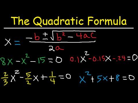 Quadratic Formula - Solving Equations, Fractions, Decimals & Complex Imaginary Numbers - Algebra