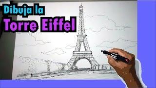 Aprende a dibujar la Torre Eiffel en Paris, Francia paso a paso