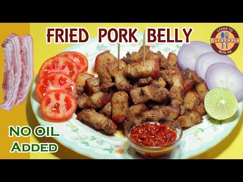 FRIED PORK BELLY Recipe ( NO OIL ADDED ) - Easy & Quick Fried Dish | Snacks For Party