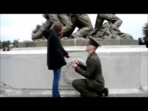 Military Proposal in front of Iwo Jima Memorial