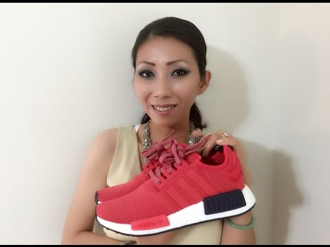 Wife's NMD R1 Vivid Red/Vivid Red/Collegiate Navy White unbox on feet review