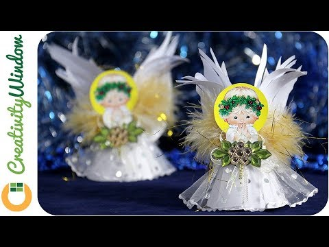 Cute Christmas Angel with Fluffy Wings and Adorable Dress