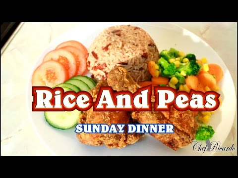 Jamaican Sunday Dinner Rice And Peas With Fry Chicken & Veg | Recipes By Chef Ricardo