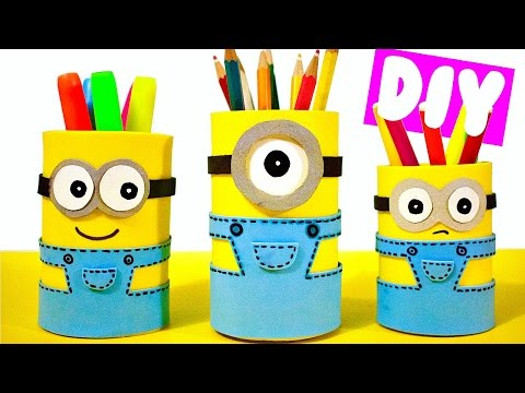 DIY SCHOOL SUPPLIES for Back to School | Easy & Cute Minion Pencil Holders