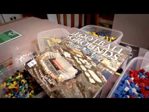 Building football grounds from Lego bricks.