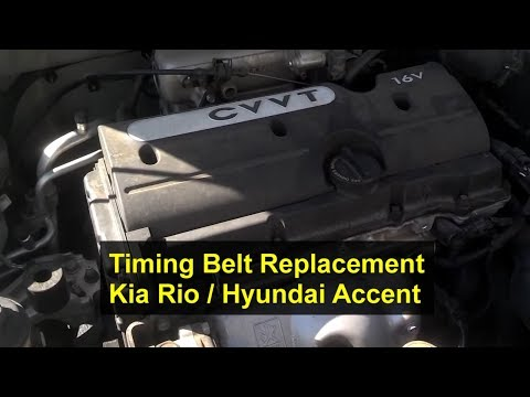 How to replace the timing belt, replacement, Kia Rio 1.6L, I4, 16 Valve - VOTD