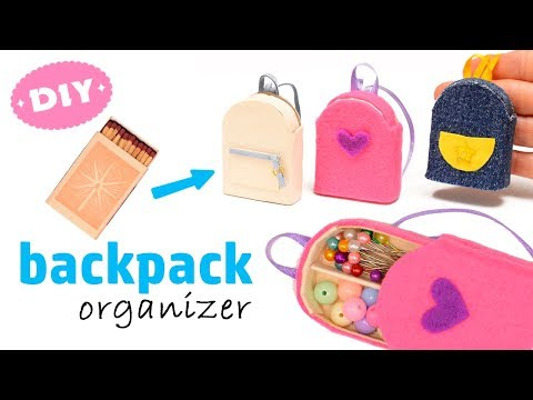 Diy Miniature Backpack Organizer With Matchbox | Back to school