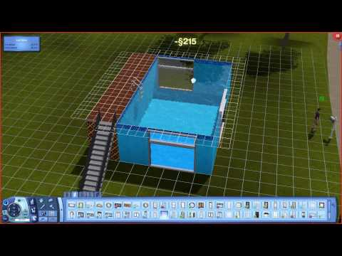 The Sims 3 how to  build a above ground pool with windows trick