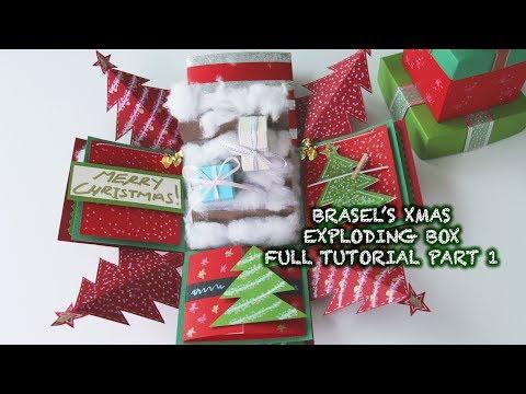 CHRISTMAS EXPLODING BOX FULL TUTORIAL PART 1 (2017)