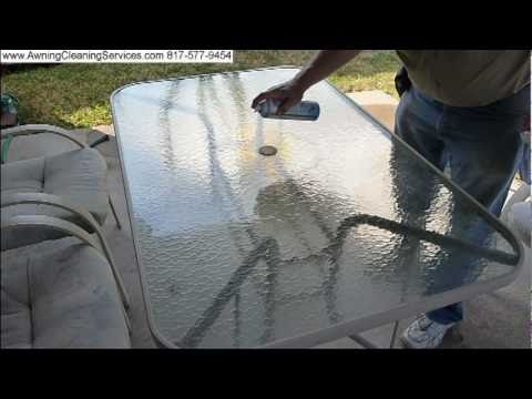 Cleaning the Glass Top on a Patio Table Dallas Fort Worth DFW TX
