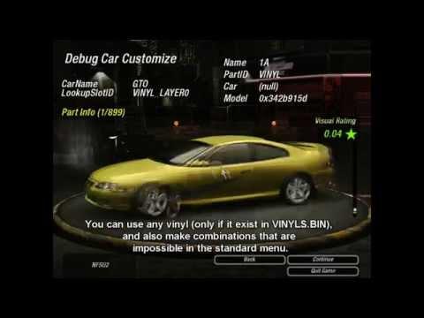 NFS Underground 2 - Debug Mode: Some interesting options