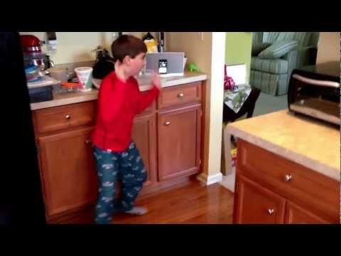 Robert dancing to a Minecraft parody song.