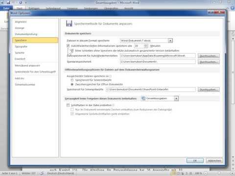 Microsoft Word 2010 AutoWiederherstellen und AutoSpeicherung aktivieren und anpassen