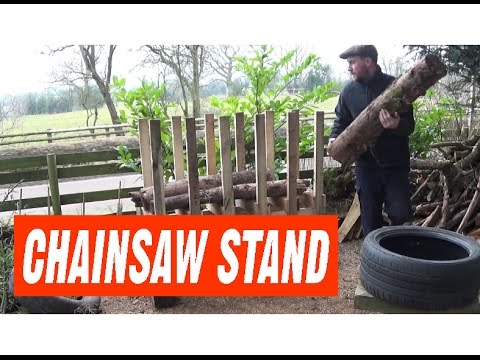 Pallet Wood Chainsaw Stand