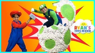 YOSHI GIANT EGG SURPRISE TOYS FOR KIDS Mario and Luigi Irl Nintendo Toys Unboxing Ryan ToysReview