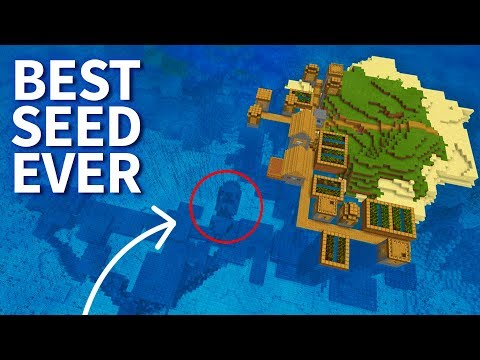Minecraft 1.4: BEST SEED EVER! Island with Village, Stronghold & Shipwreck! MCPE 1.4 / 1.4.2 Update