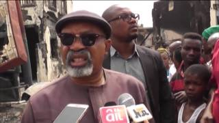 Minister of Labour and Employment at the Fire Scene at Onitsha