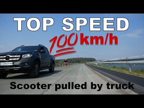 TOP SPEED 100km/h ON SCOOTER PULLED BY TRUCK ::: Claudius Vertesi + RadQuartier Car