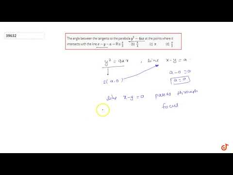 The angle between the tangents to the parabola `y^2=4a x` at the points where it intersects wit...