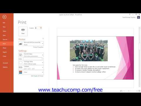 PowerPoint 2013 Tutorial Previewing & Printing Presentations-2013-2010 Microsoft Training Lesson 8.6