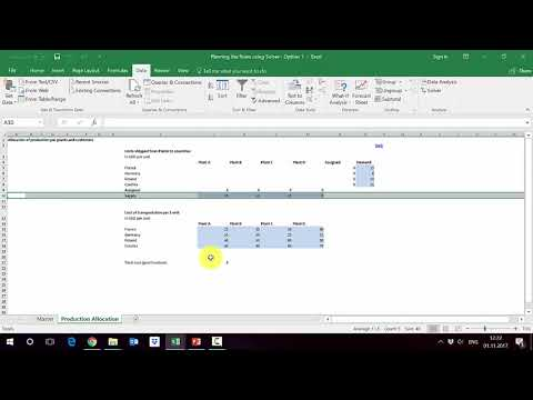 How to use solver in Excel to allocate production by factories