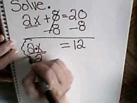 Solve 2x + 8 = 20
