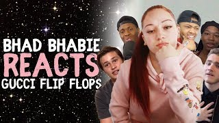 "BHAD BHABIE reacts to ""Gucci Flip Flops"" ft. Lil Yachty roasts and reaction vids 