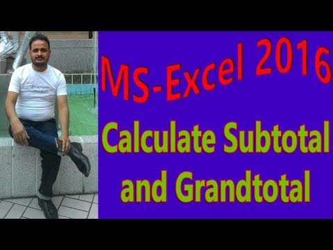 Calculate subtotal and grand total in Ms-Excel 2016 |easy to learn| hindi