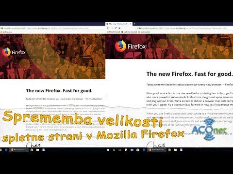 Spremenite velikost spletne strani v Firefox spletnem brskalniku