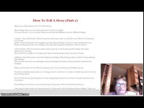 How To Tell A Story (part 1)