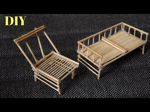DIY Mini Bamboo Stick Chairs | Easy Miniature Furniture for Dollhouse