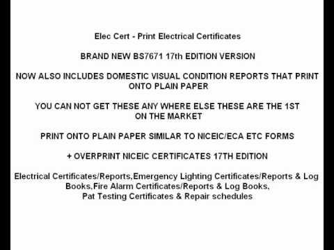 MEGGER/FLUKE/NICEIC ELECTRICAL CERTIFICATES SOFTWARE ! new 2012
