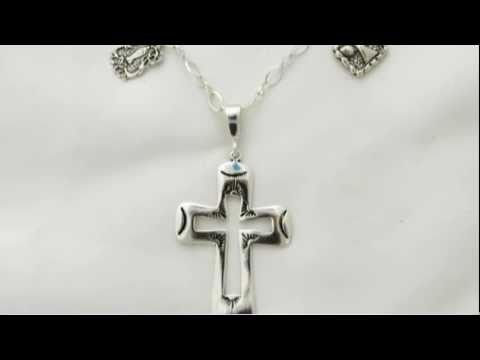 Catholic Medals and Cross Sterling Silver Necklace
