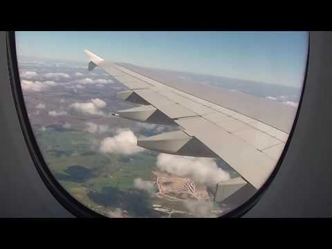 Landing at Manchester Airport in an Emirates Airbus A380, Greater Manchester, England - 18/09/16