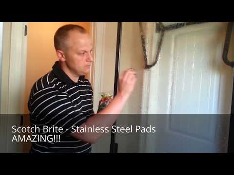 Soap Scum on Shower Door? Use a Stainless Steel Pad - test for scratching